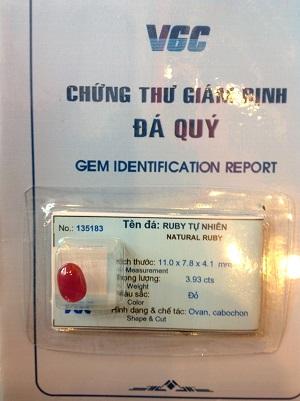 Trang Sức Đá Ruby Đỏ Lục Yên - 135183 - 3.93cts