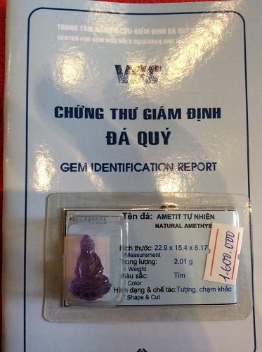 Mặt Phật Bà Quan Âm Đá Thạch Anh Tím Tự Nhiên - 145824