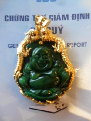 Mặt Phật Di Lặc Bọc Vàng Ngọc Phỉ Thúy Tự Nhiên