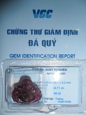 Mặt Phật Di Lặc Đá Ruby Đỏ Tự Nhiên