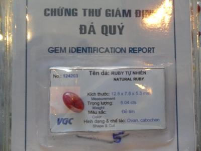 Trang Sức Đá Ruby Đỏ Lục Yên - 124203 - 6.04 cts