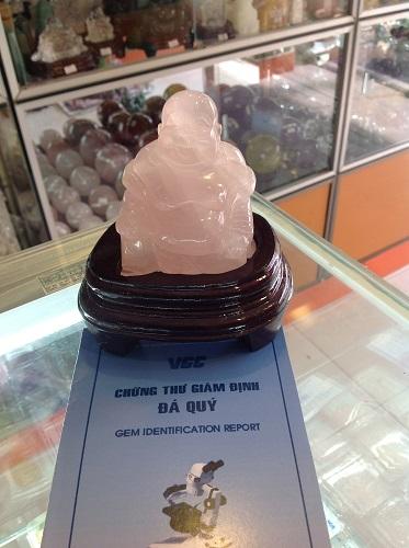 Tượng Phật Di Lặc Đá Thạch Anh Hồng - TPDH2268